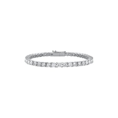 14K White Gold Cubic Zirconia Prong Set 4.00 CT TGW Tennis Bracelet - image 1 of 2