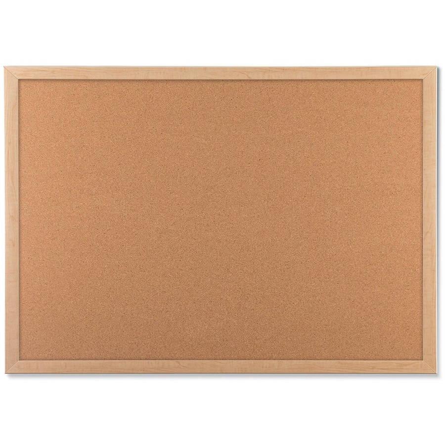U Brands Cork Bulletin Board, Light Birch Wood Frame