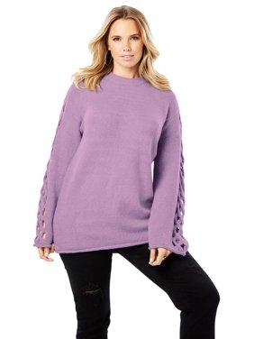 745cc208446 Product Image Roamans Plus Size Lattice Bell-sleeve Sweater