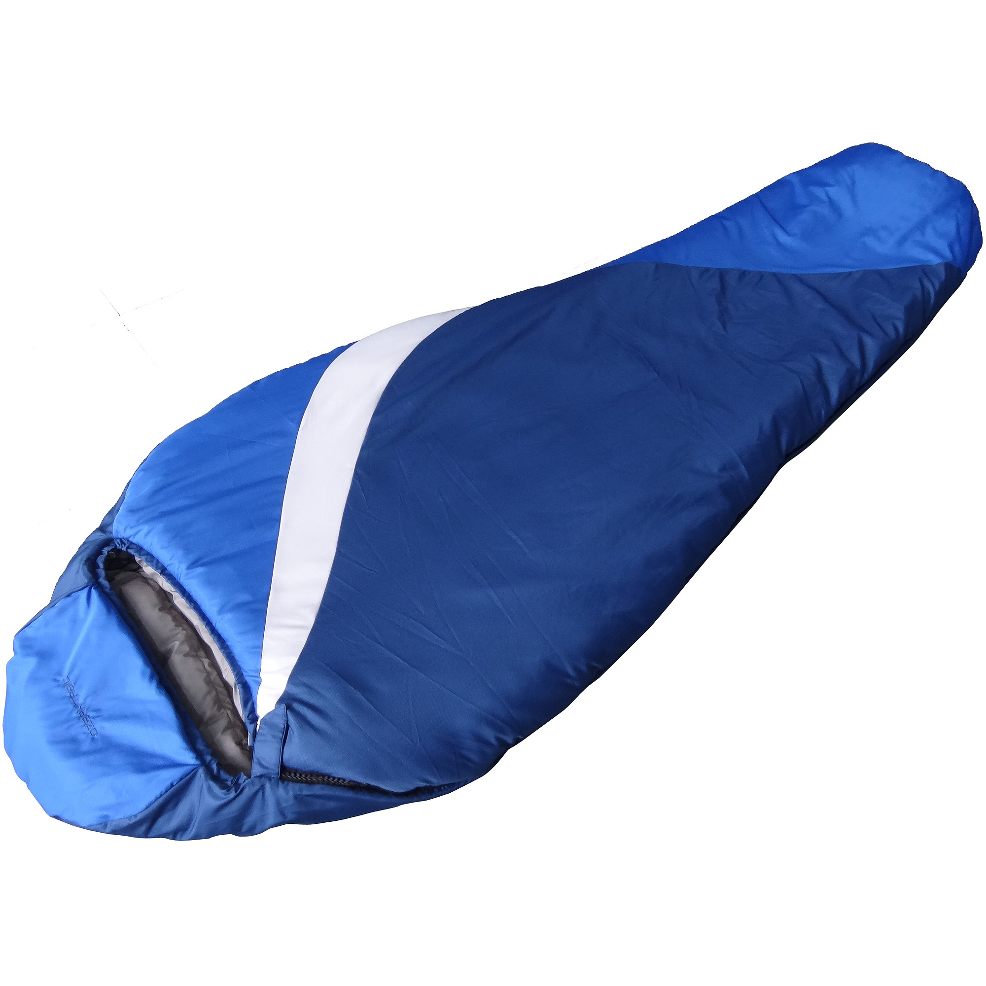 Ozark Trail 0-Degree Adult Mummy Climatech Fiber Sleeping Bag, Blue/White/Dark Blue