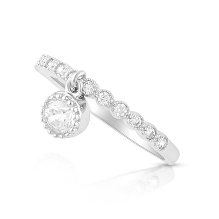 Sterling Silver Thin Stackable Dangling Charm Cz Ring - (Size 4 - 11)