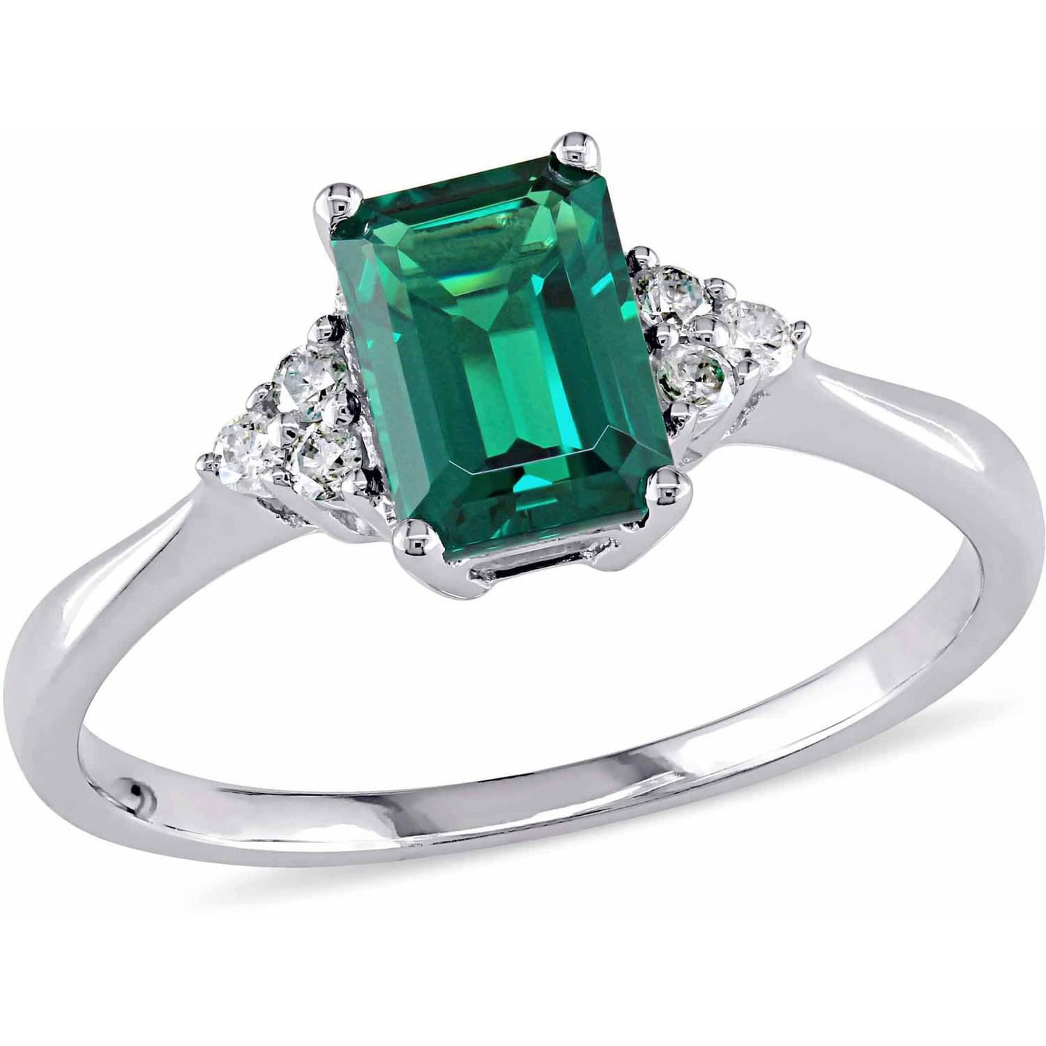 Tangelo 7/8 Carat T.G.W. Created Emerald and Diamond-Accent 10kt White Gold Cocktail Engagement Ring