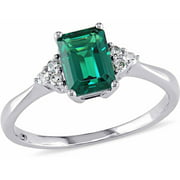 7/8 Carat T.G.W. Created Emerald and Diamond-Accent 10kt White Gold Cocktail Engagement Ring
