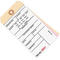 G16011 White / Manila 6.25 Inch x 3.13 Inch - (0000-0499) 10 Point Cardstock Inventory Tags 3 Part Carbonless # 8 CASE OF 500