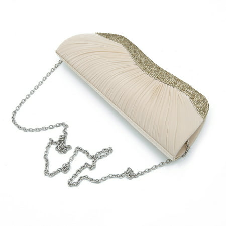 Elegant Pleated Satin & Crystal Hard Clutch Evening Bag