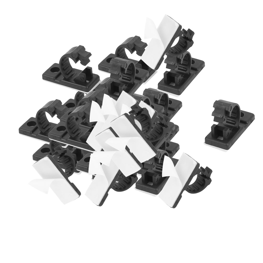 50Pcs 13mmx29mm White Adhesive Backed Nylon Wire Adjustable Cable Clips Clamps