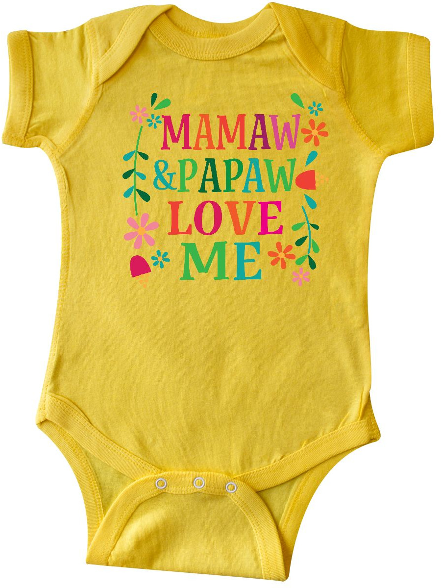 inktastic Mamaw and Papaw Love Me Long Sleeve Creeper