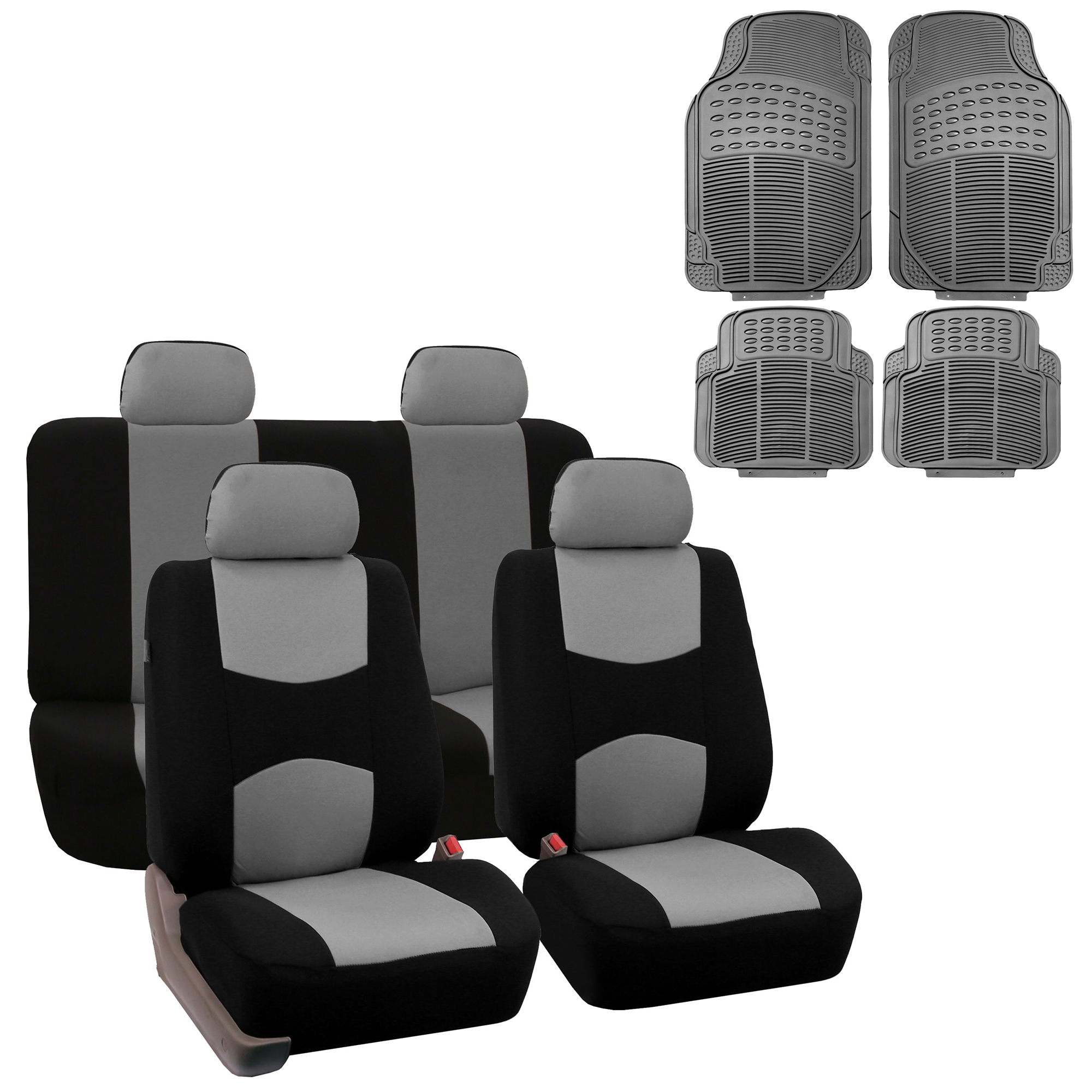 FH Group Cloth Solid Bench Seat Cover, Full Set with Gray Heavy Duty Floor Mats, Gray Black