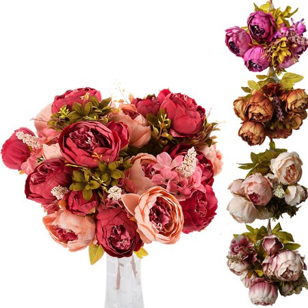 CUH Peony Artificial Flowers Arrangements Silk Bulk Bouquet for Bedding Wedding Office Living Room Meeting Room Garden (Glamour Bouquet)