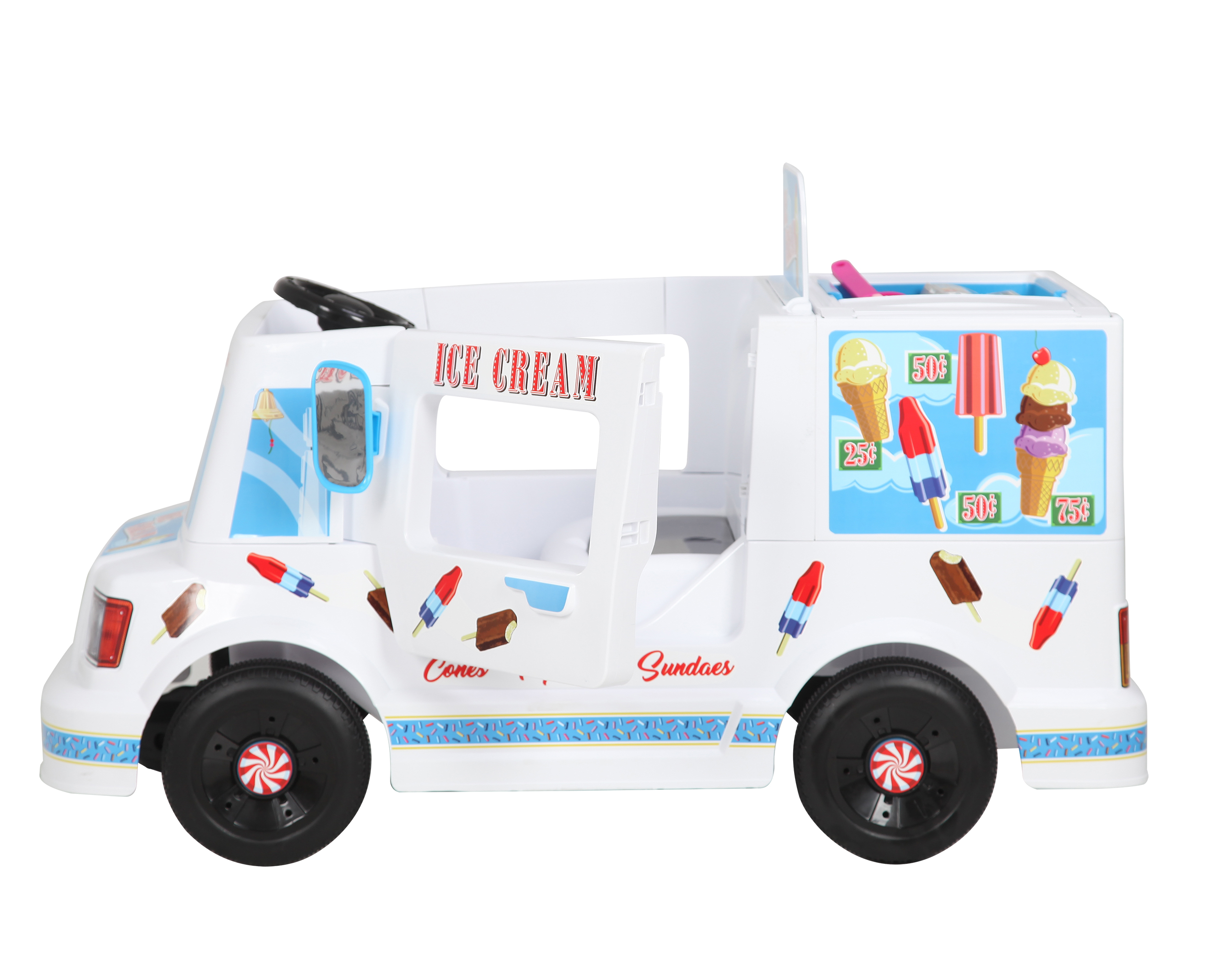 rollplay 6 volt ezsteer ice cream truck ride on toy battery powered