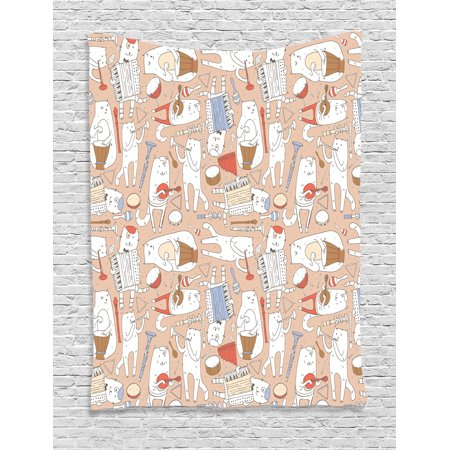 Home Decor Tapestry, Cartoon Musician Cute Cat with Drum Accordion Tube Guitar in Music Pattern, Wall Hanging for Bedroom Living Room Dorm Decor, 40W X 60L Inches, Warm Taupe White, by Ambesonne