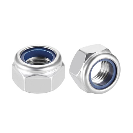 M16 x 2mm Nylon Insert Hex Lock Nuts, 304 Stainless Steel, Plain Finish, 5 Pcs - image 3 of 3