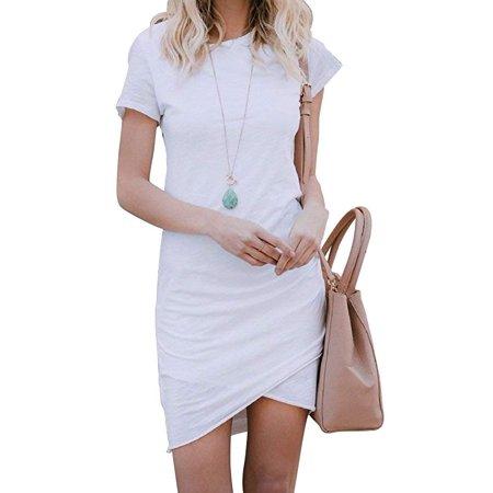 Womens Short Sleeve Sheath Dress Solid Color Irregular Hem Summer Bodycon Mini Dress ()