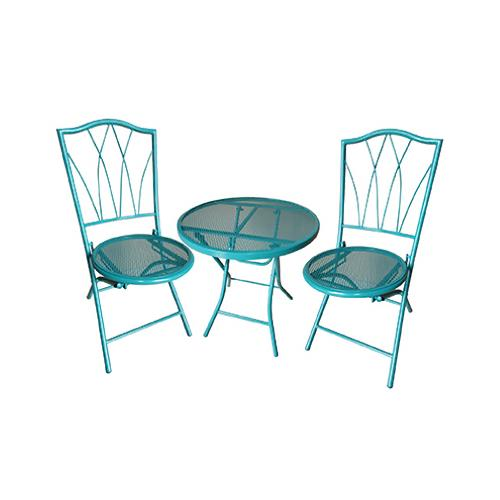 Courtyard Creations 17S5080LT Avalon Bistro Set, Steel Frame, Teal, 3-Pc.