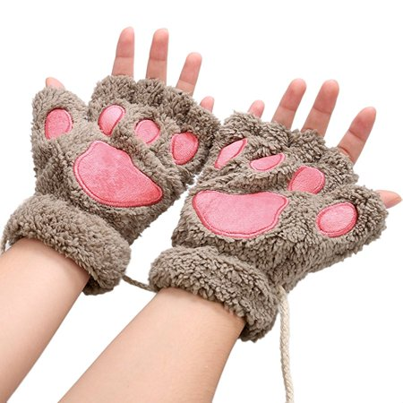 Women Winter Fluffy Bear Cat Plush Paw Claw Glove Half Finger Cute Gloves Mittens