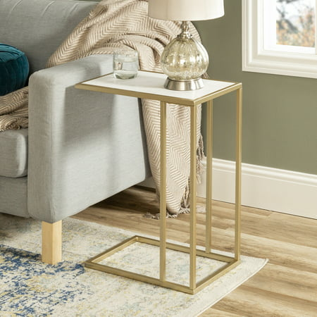 Manor Park Modern Wood and Metal C-Table - White Faux Marble / Gold