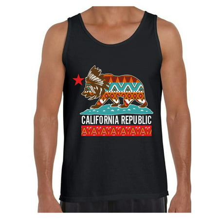 Awkward Styles California Tribal Print Tank Top for Men California Bear Tank Tops California Muscle Shirt California Tribal Bear Sleeveless Tshirt California Shirts for Men Cali Gifts Cali Tank Top - Muscle T Shirts