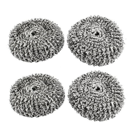 "Kitchen Pot Pan Stainless Steel Scouring Pad Scrubber 2.8"" Dia 2 Pcs"