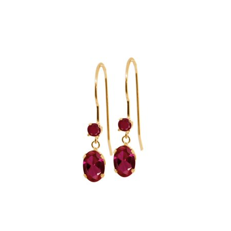 1.60 Ct Oval Red Created Ruby Red Ruby 14K Yellow Gold Earrings 14k 6x4mm Oval Ruby Earring
