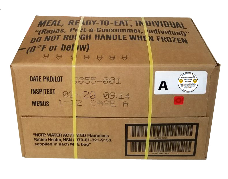 2020 MRE Meals Ready-to-Eat, Case of 12 Genuine US Military with Western Frontier's Inspection Decal by Sopako, Wornick, or Ameriqual