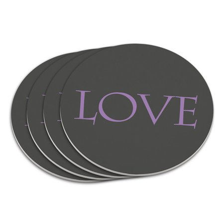 Love Script Purple Gray Wedding Anniversary Coaster Set](Wedding Coasters)
