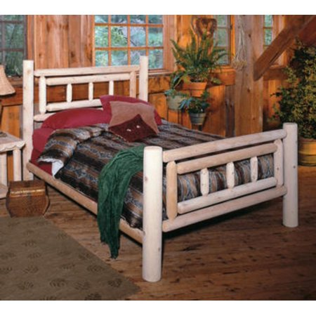 76 Cedar Log Style Handcrafted Deluxe Wooden Twin Bed