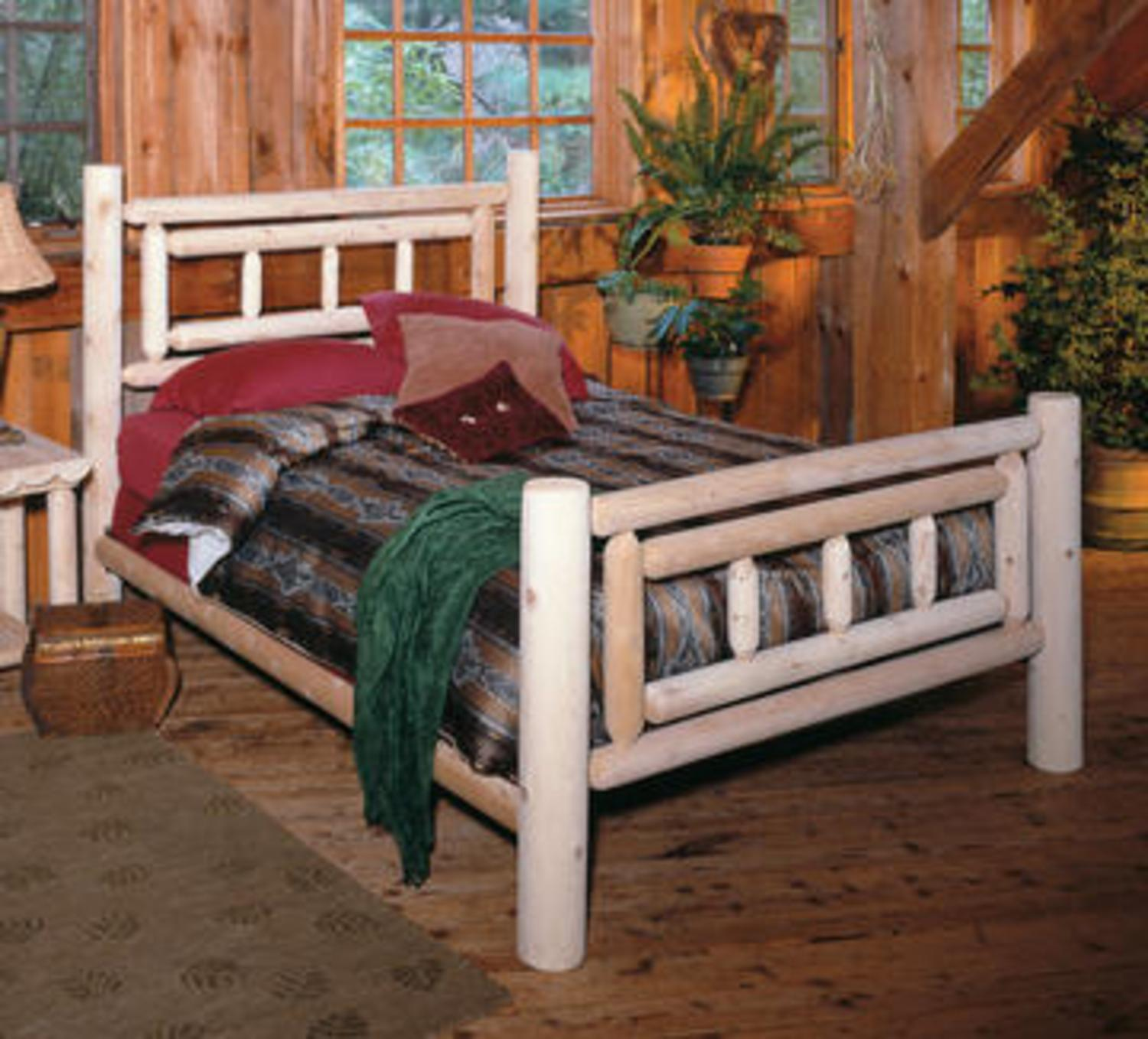 "76"" Cedar Log Style Handcrafted Deluxe Wooden Twin Bed Frame"