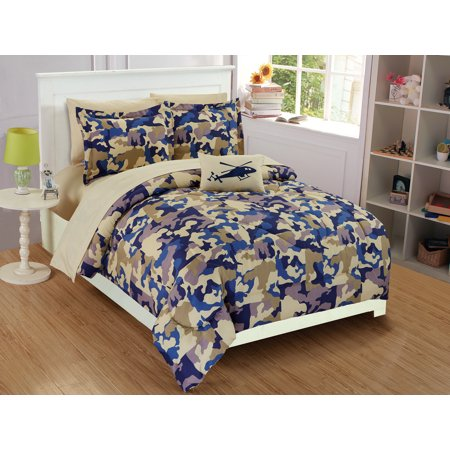 Fancy Linen Collection 6 pc Twin Size Camouflage Blue Beige Kids /teens Comforter