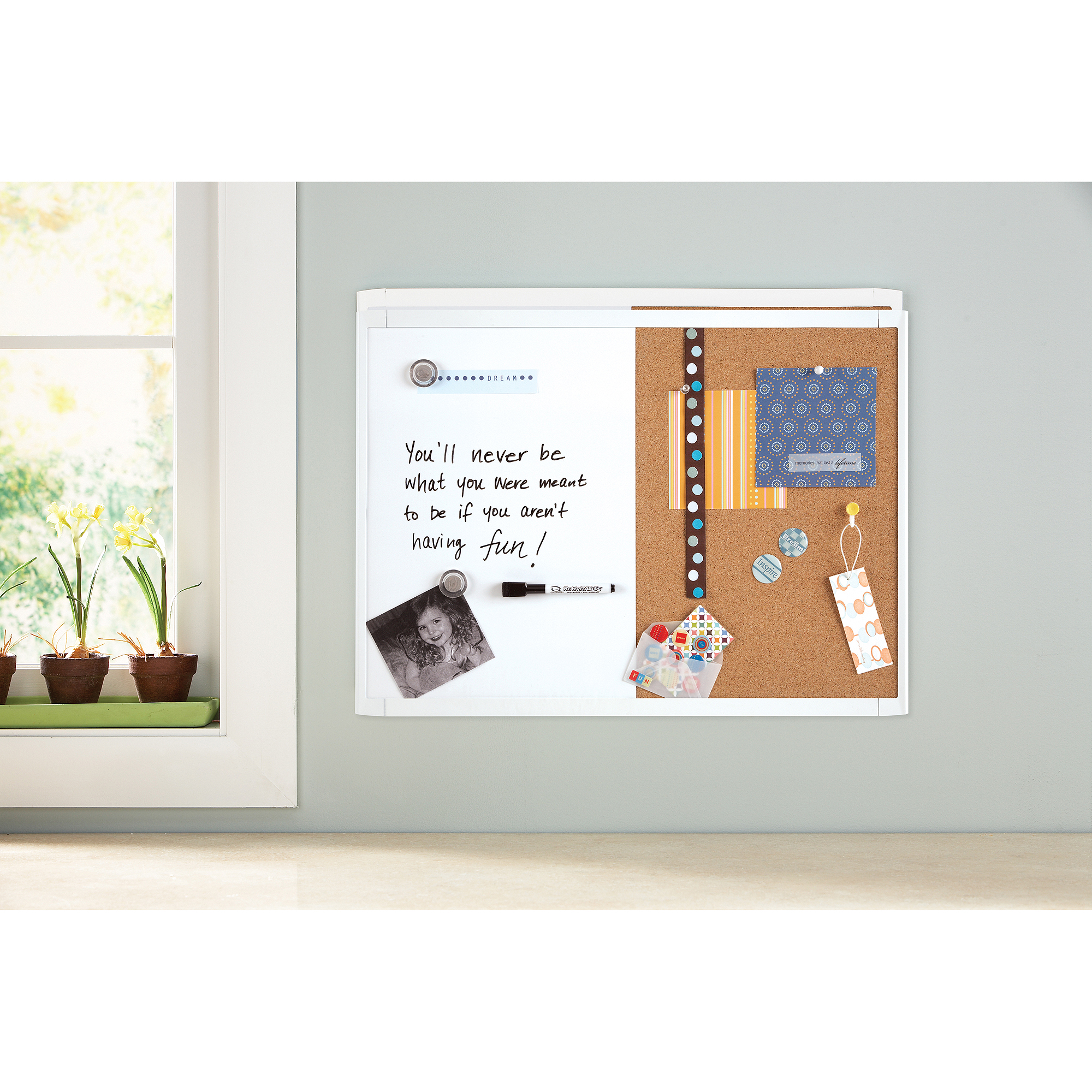 "Quartet Magnetic Combination Board, Cork/Dry-Erase, 17"" x 23"", Assorted Frame Colors"