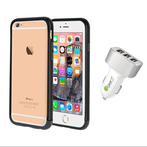 iPhone 6 Case Bundle (Case + Charger), roocase iPhone 6 4.7 Strio Bumper Open Back with Corner Edge Protection Case Cover with White 5.1A Car Charger for Apple iPhone 6 4.7-inch, Black