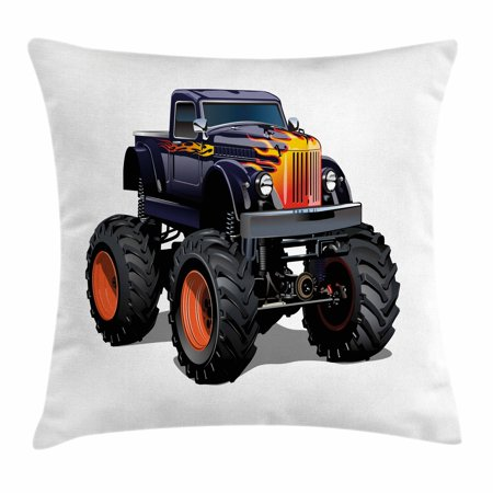 Truck Throw Pillow Cushion Cover, Flame Patterned Hood Cool Monster Truck with Giant Wheels Children's Cartoon Pickup, Decorative Square Accent Pillow Case, 18 X 18 Inches, Multicolor, by Ambesonne (Flame Throw Pillow)