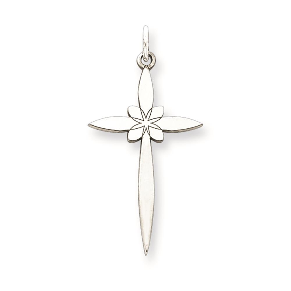 Laser Etched Cross Polished Charm Pendant 25mmx7mm 925 Sterling Silver