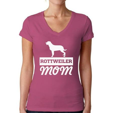 Awkward Styles Awkward Styles Womens Rottweiler Mom V Neck T
