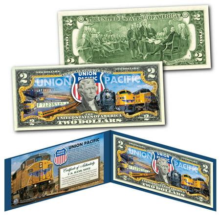 UNION PACIFIC Train Company GE Locomotive Railroad U.S. $2 Bill - WORLDS (Locomotive Union)