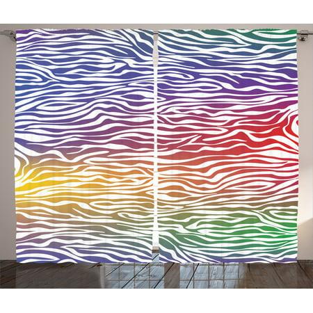 Zebra Print Decor Curtains 2 Panels Set, Abstract Zebra Skin Pattern Geometric Horizontal Lines Stripes Illustration, Living Room Bedroom Accessories, By