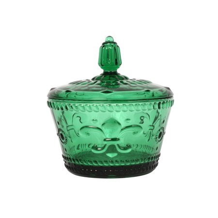 Fleur-De-Lys, Seasoning Jar, Glass Canister, Candy Jar. Green, set of 2 Green Glass Jar