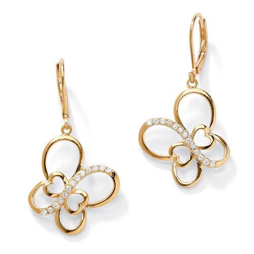 Palm Beach Jewelry Cubic Zirconia Butterfly Openwork Drop Earrings