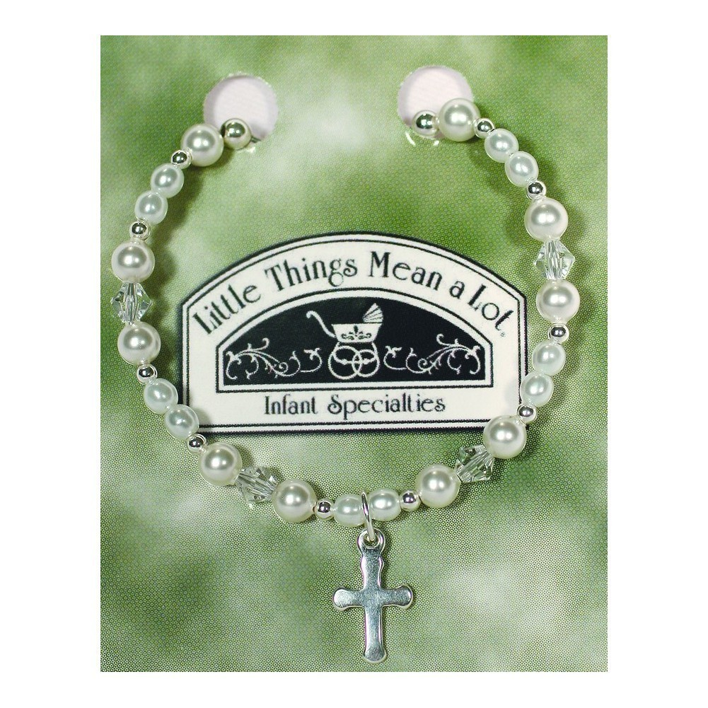 Little Things Mean A Lot White Pearl Crystal Cross Bracelet SM-LG