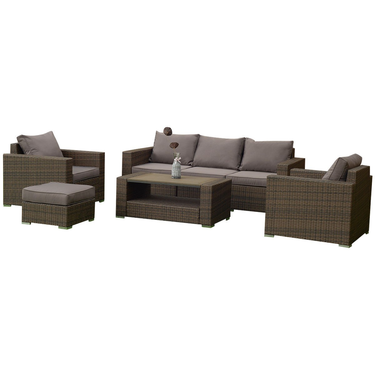 7 pcs Patio Rattan Sectional Aluminum Frame Furniture Set by