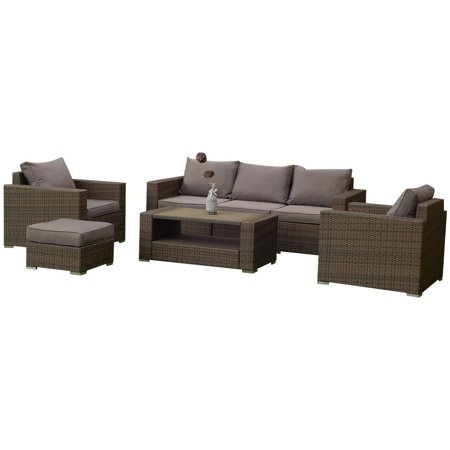 7 pcs Patio Rattan Sectional Aluminum Frame Furniture Set