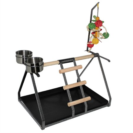 Play Perch - Parrot Bird Perch Table Top Stand Metal Wood 2 Steel Cups Play Medium Large Breeds