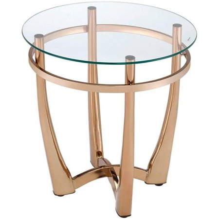 Benzara BM185777 Glass Round End Table with Metal Base, Champagne & Clear Glass Base Clear Metal