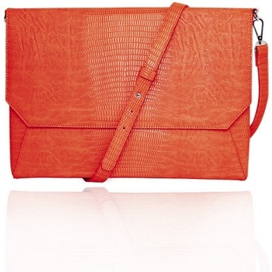 "Francine Collection FFS11ORLIZARDENVSS Francine Collection Lenox Carrying Case (Sleeve) for 11"" Tablet - eReader, Notebook - Orange - Faux Leather"