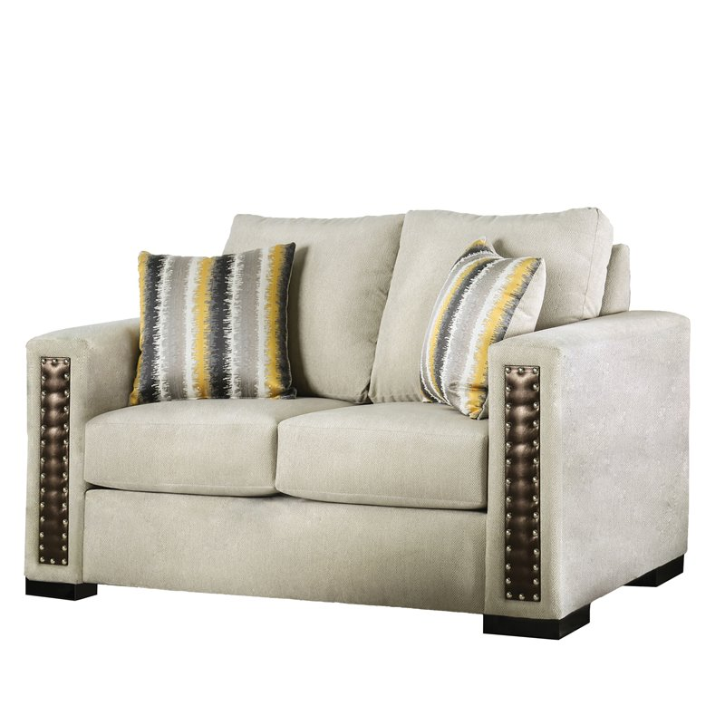 Furniture of America Shea Beige Chenille Loveseat in Beige