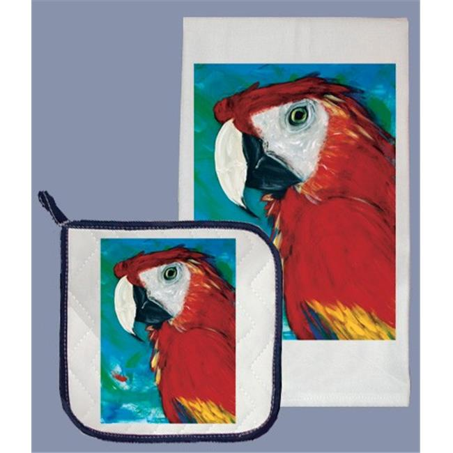 Pipsqueak Productions DP879 Macaw Dish Towel And Pot Holder Set