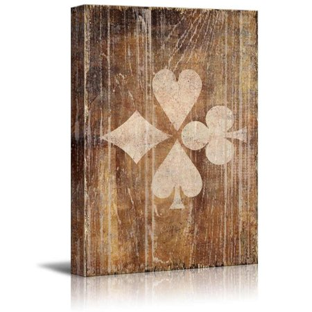 wall26 Poker Cards Canvas Wall Art - Poker Pattern of Hearts Spades Clubs and Diamonds on Rustic Background - Gallery Wrap Modern Home Decor | Ready to Hang - 16x24