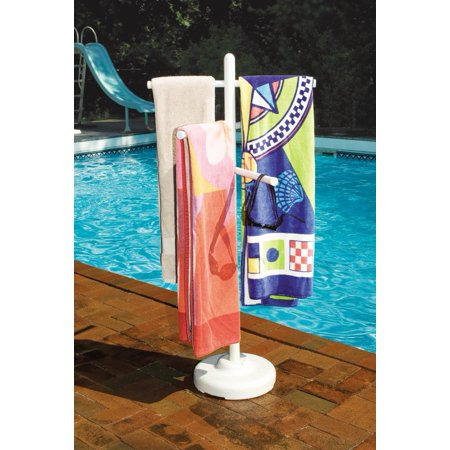Hydrotools 89032 Indoor Outdoor Swimming Pool Spa Weighted Poolside Towel Rack (Pool Towel Tree)