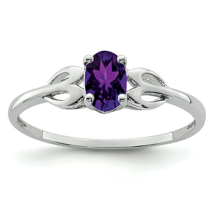 Purple February Gem - 925 Sterling Silver Purple Amethyst Band Ring Size 7.00 Birthstone February Gemstone Gifts For Women For Her