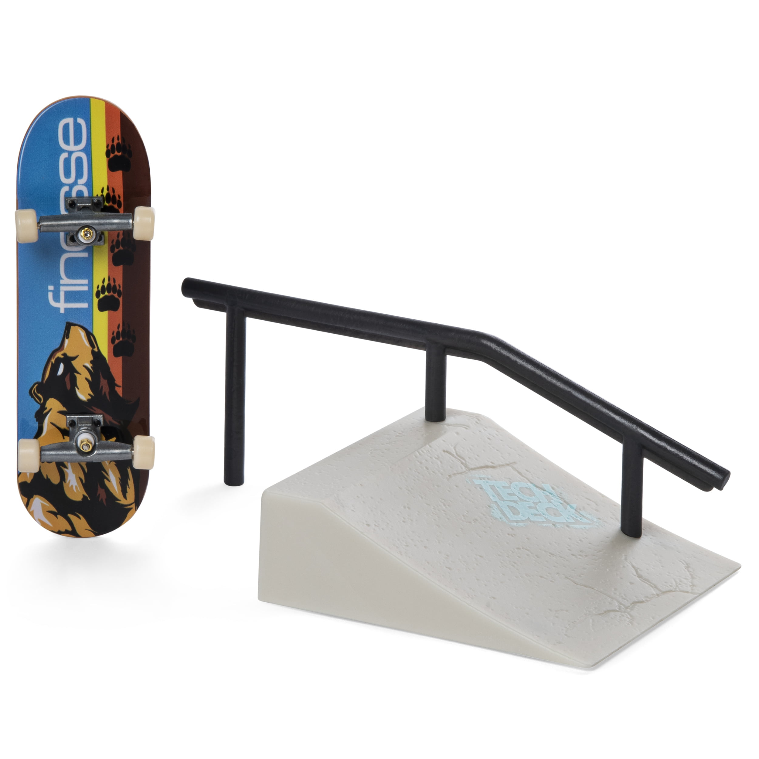 Mini Fingerboards TD Street Hits Wedge Ramp Plus Rail and Finesse Skateboards Complete Deck