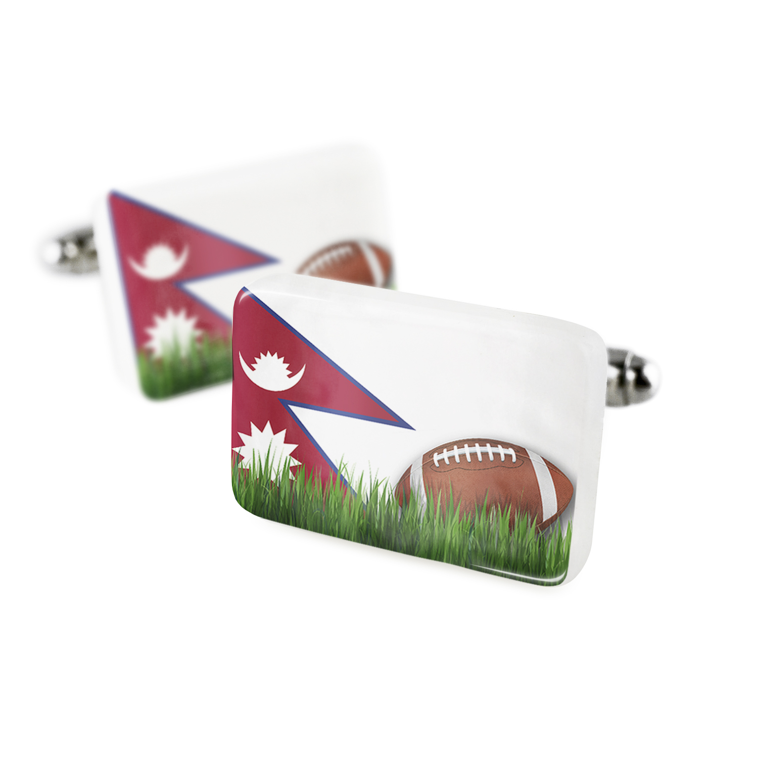 Cufflinks Football with Flag Nepal Porcelain Ceramic NEONBLOND
